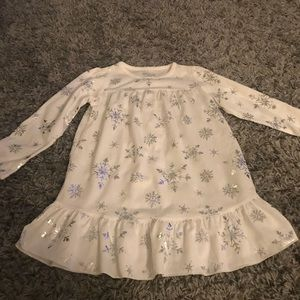 OshKosh White Snowflake girls 4 long sleeve dress